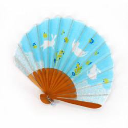small Japanese fan 21cm in cotton, USAGI, sky blue rabbit