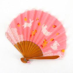 petit éventail japonais 21cm en coton, USAGI, lapin rose