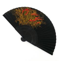 éventail japonais noir 22cm pour homme, RYÛ, dragon doré