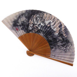 japanese grey fan 22cm for man in paper and bamboo, TORA, tiger