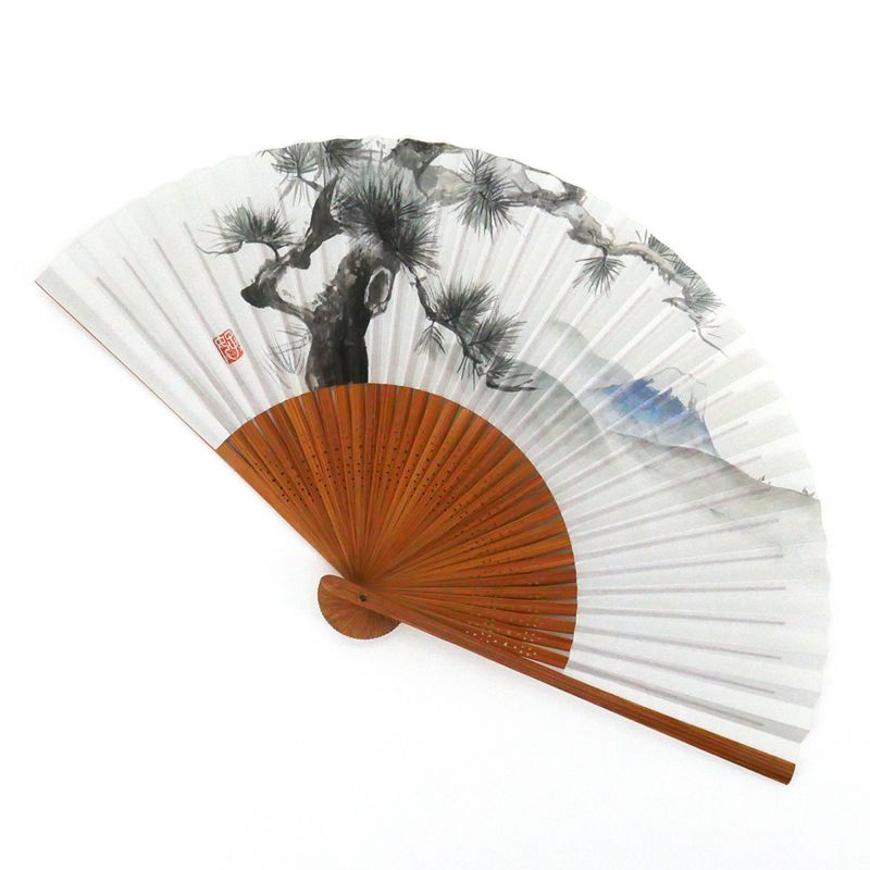 japanese white fan 22cm for man in paper and bamboo, MATSUFUJI, pine and mountain