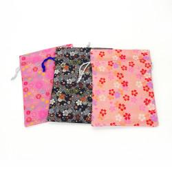 Japanese refillable bag 100% rayon 26.5x20cm, KINRAN, floral motifs
