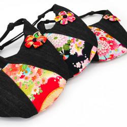Japanese handbag 17x25x9cm, CHIRIMEN, flower pattern
