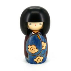 japanese wooden doll - kokeshi, KOJITSU, blue