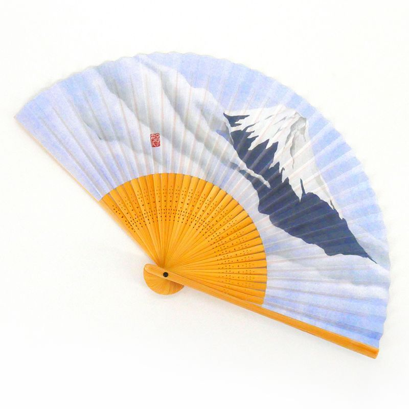 japanese blue sky fan 22cm for man, FUJISAN, mountain and clouds