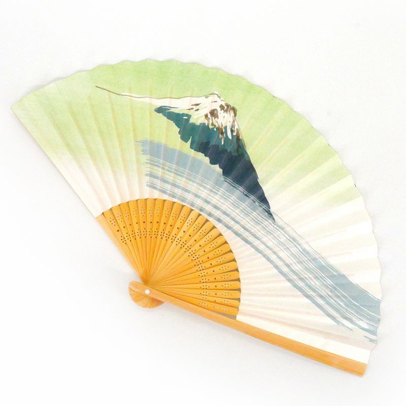 japanese white and green fan 22,5cm for man in paper and bamboo, FUJISAN, mountain