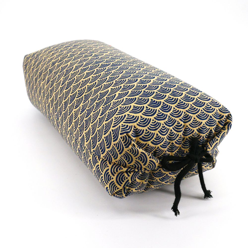 Japanese cushion stuffed with buckwheat pods, wave, beige and blue patterns