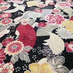 tessuto nero giapponese, 100% cotone, motivo gru giapponese
