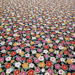 Black Japanese cotton fabric with flowers made in Japan width 110 cm x 1m