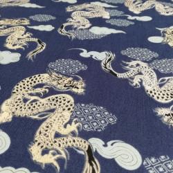 tessuto blu giapponese, 100% cotone, drago