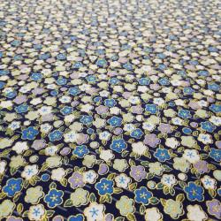 tessuto blu giapponese, 100% cotone, fiori