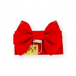 cintura e nodo tradizionali giapponesi per bambini, MUSUBI-OBI, rosso