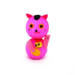 bambola giapponese, fatta di carta - okiagari, MANEKINEKO, gatto rosa
