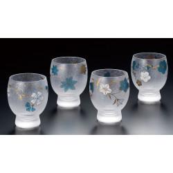 set de 4 verres à saké japonais SHIKI MEGURI