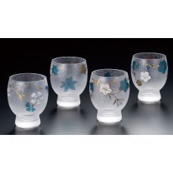 Set of 4 Japanese sake glasses Meguri shiki