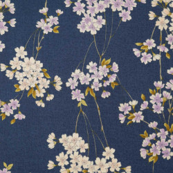 Blue Japanese cotton fabric flower patterns made in Japan width 110 cm x 1m