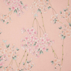 Pink Japanese cotton fabric flower patterns made in Japan width 110 cm x 1m