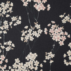 Black Japanese cotton fabric flower patterns made in Japan width 110 cm x 1m