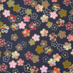 Blue Japanese cotton fabric sakura flowers made in Japan width 110 cm x 1m