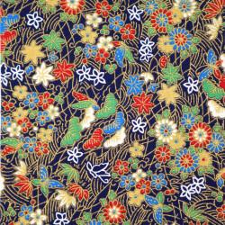 Tessuto giapponese, fantasia 100% cotone, fiori e farfalle