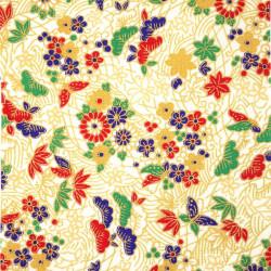 Tessuto bianco giapponese, fantasia 100% cotone, fiori e farfalle