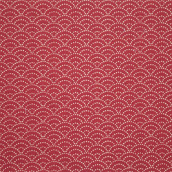 Red Japanese cotton fabric seigaiha sashiko patterns made in Japan width 112 cm x 1m