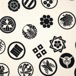 tessuto bianco giapponese, 100% cotone, motivo Kamon