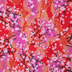 Tessuto rosso giapponese, 100% cotone, motivo a fiori piccoli