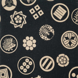 Black Japanese cotton fabric emblems patterns made in Japan width 112 cm x 1m