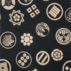 tessuto nero giapponese, 100% cotone, motivo Kamon