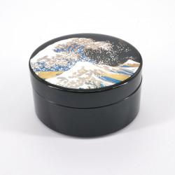 schwarze japanische Schmuckschatulle, NAMI, Welle