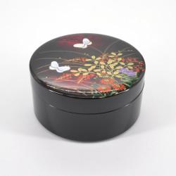 schwarze japanische Schmuckschatulle, MIYABINO, Blumen und Schmetterlinge