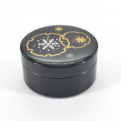 schwarze japanische Schmuckschatulle, YUKIWA, Schneeflocke
