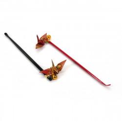 Japanischer Kratzer mit Origami-Kran, Mimikaki, ORIZURU, schwarz oder rot
