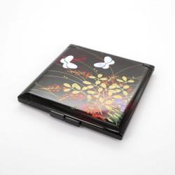 specchietto tascabile rosso, MIYABINO, fiori e farfalle