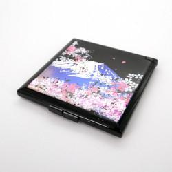schwarzer Taschenspiegel, FUJI SAKURA, Der Fujisan und Blumen