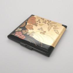 schwarzer Taschenspiegel, HANANO, Blumen