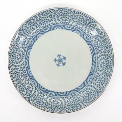 assiette blanche et bleue motifs japonais Ø26,5cm TAKO KARAKUSA