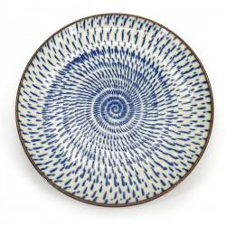 piatto rotondo in ceramica giapponese, OFUKE UZU, blu