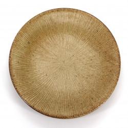 Japanese round ceramic plate, SENDAN, brown