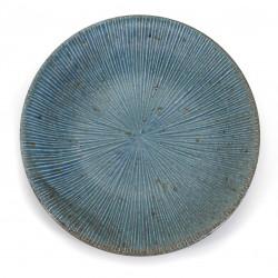 Japanese round ceramic plate, SENDAN, blue and gray