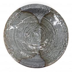 piatto rotondo giapponese di ceramica, YAMAGASUMI, grigia