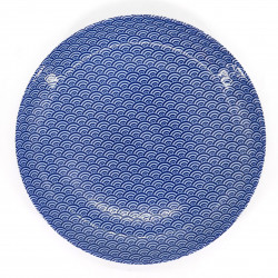 japanese blue round plate in ceramic, SEIGAIHA, waves