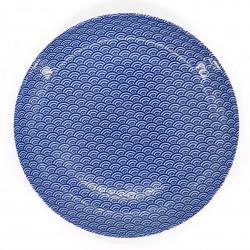 piatto blu rotondo giapponese di ceramica, SEIGAIHA, onde