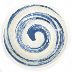 japanese round plate in ceramic NARUTO blue whirlpool