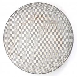 Japanese round ceramic plate, YAGASURI, white