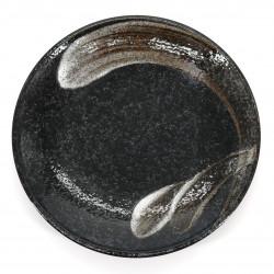 Japanese black ceramic plate Ø23cm, ARAHAKE, brush