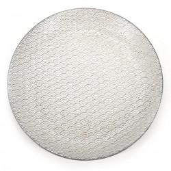 assiette ronde japonaise, KODAI SEIGAIHA, blanche
