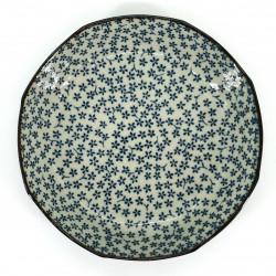 japanese soup plate, HANA, blue and gray