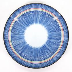 Piatto rotondo in ceramica blu giapponese, TOKUSA, linee colorate